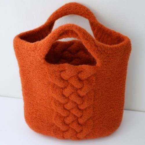 orange felted bag.
