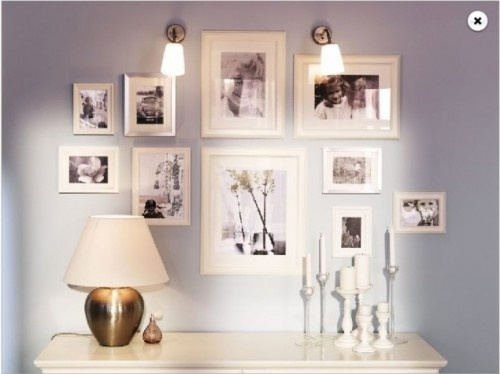 Photo collage: Photos Collage, Galleries Wall, Photos Wall, Photos Display, Frames Collage, White Frames, Bedrooms Ideas, Pictures Wall, Ikea