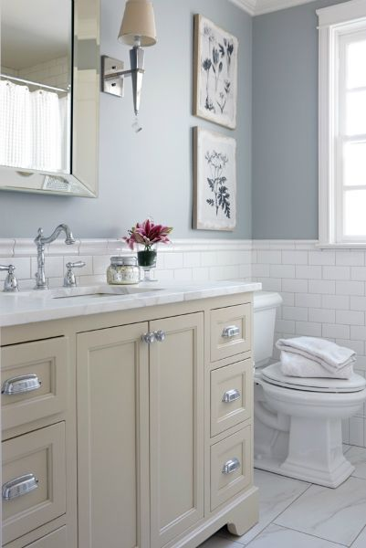 Cream And Blue Bathroom Features Upper Walls Painted Lower Clad In White Subway Tiles Lined With A Washstand Adorned Polished