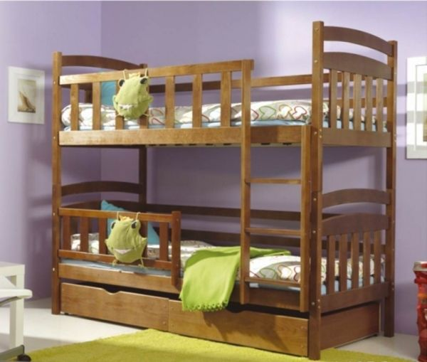 Das Etagenbett Kacper 2 in der rustikalen Variante.  #Etagenbett #Bett #Kiefer #dunkel #Bettkasten