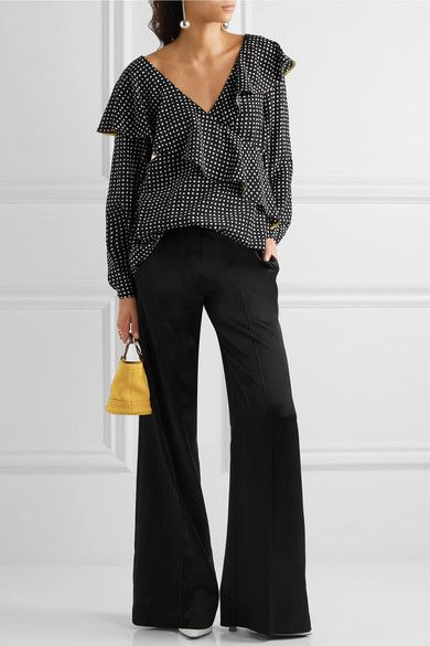 Diane von Furstenberg - Ruffled Polka-dot Silk Crepe De Chine Wrap Top - Black - US4