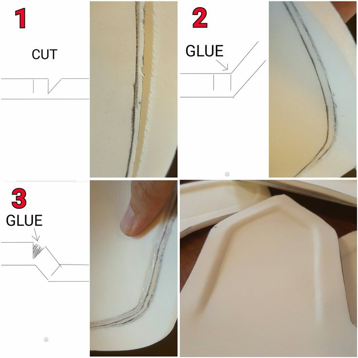 "1. Cut a straight line and then a ""v"" cut next to it. 2. Glue and hold the ""v"" cut together. 3. Pull open the straight cut and fill with glue (or scrap foam). Hold open until it dries. Then flip it over and then you will have a seamless layer"