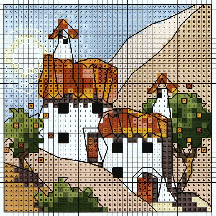 'Cottage with Orange Trees' from Michael Powell's 'Mini Cross Stitch' book (paperback, pub. Search Press). There are twenty to make and they are all very quirky and appealing. I have made most of the pictures in this book for someone or other and they are a real pleasure to work on.