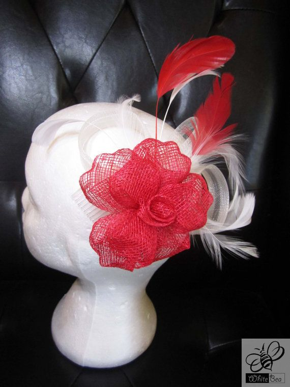 Red fascinator with white feathers Olga by WhiteBea on Etsy