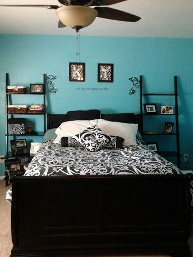 21 best images about bedrooms on pinterest turquoise a for Black and teal bedroom designs
