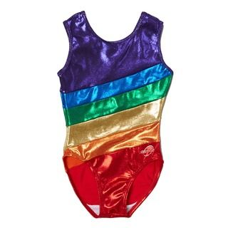 This scoop neck leotard for children features beautiful shimmering mystique material in diagonal bands forming a rainbow across the front and back of the leotard. All Obersee leotards are carefully de