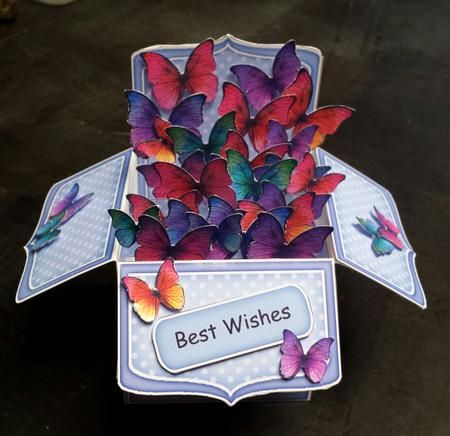 3D Fluttery Butterflies Rubber Band Pop Up Box Card on Craftsuprint designed by Carol Clarke - made by Keryl Horwath - Printed on Glossy photo paper, pieces were cut out and assembled as per instructions. Pieces were mounted using 3d foam pads. Lovely card. - Now available for download!