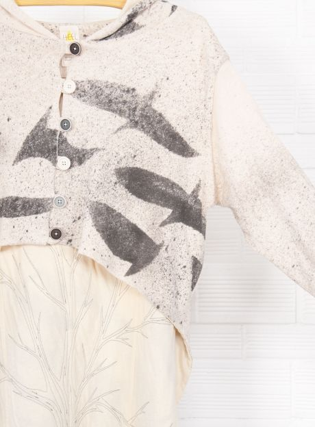 Cardigan 'Birds', handmade dyeing technique - RECYCLING Collection | Organic Cotton fashion