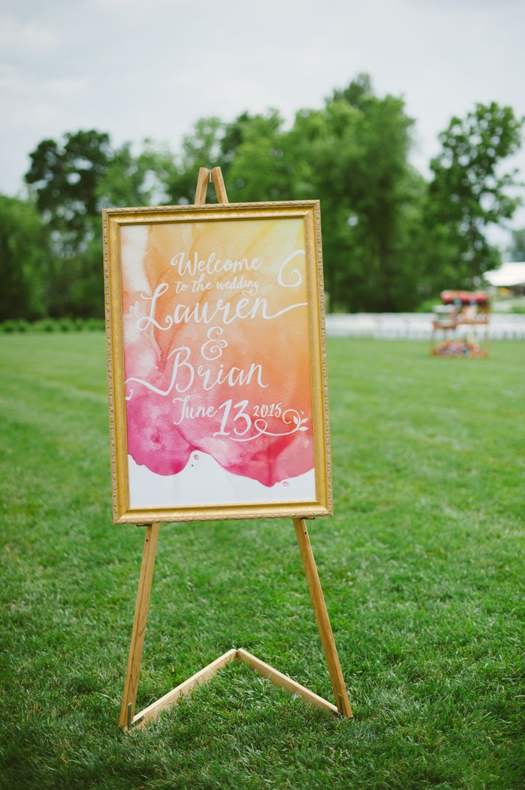 Pink and Orange Watercolor Wedding Sign
