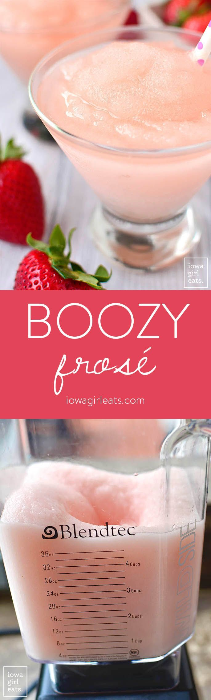 Boozy Frosé is a wine-based summery slushie that's cold and refreshing - and for adults only! This easy cocktail recipe will be a hit at happy hour.  iowagirleats.com