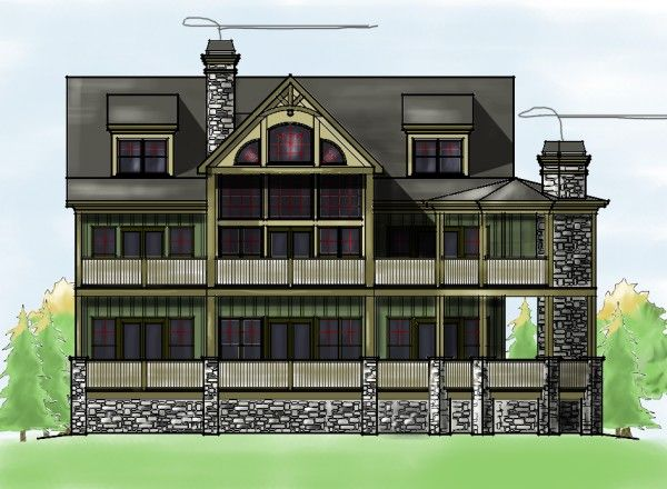 Craftsman style mountain house plan sloping lot lake for Lake house plans for sloping lots