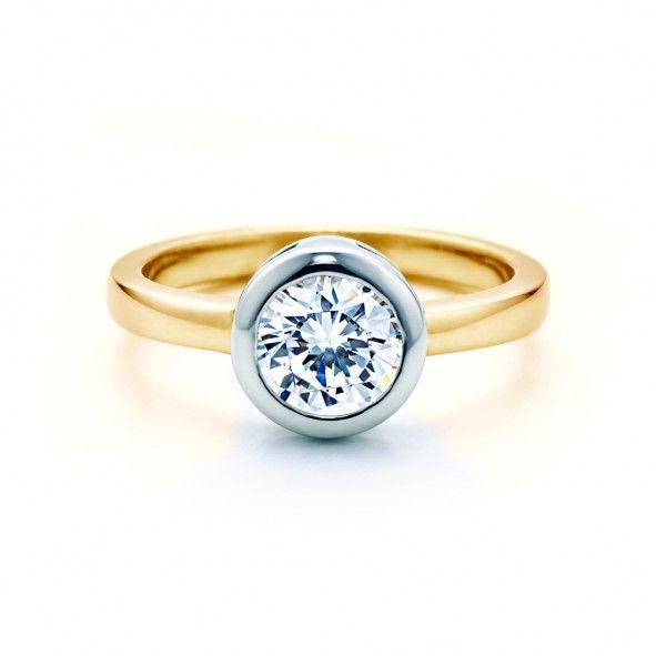 Pierścionek zaręczynowy z diamentem 2,00 ct o szlifie brylantowym wysokiej czystości SI1/G, wykonany z 18-karatowego żółto-białego złota (próba 0,750). www.savicki.pl/kolekcje/lecoeur