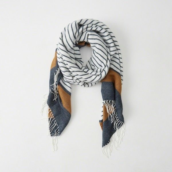 Abercrombie & Fitch Cozy Plaid Scarf ($23) ❤ liked on Polyvore featuring accessories, scarves, navy stripe, tartan scarves, striped scarves, plaid scarves, tartan plaid scarves and navy scarves