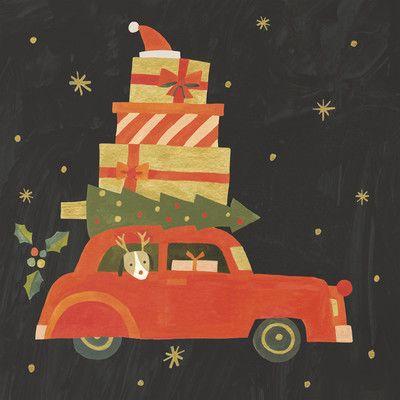 Holiday Red Car Shopping Gerahmter Gemälde-Druck in Schwarz