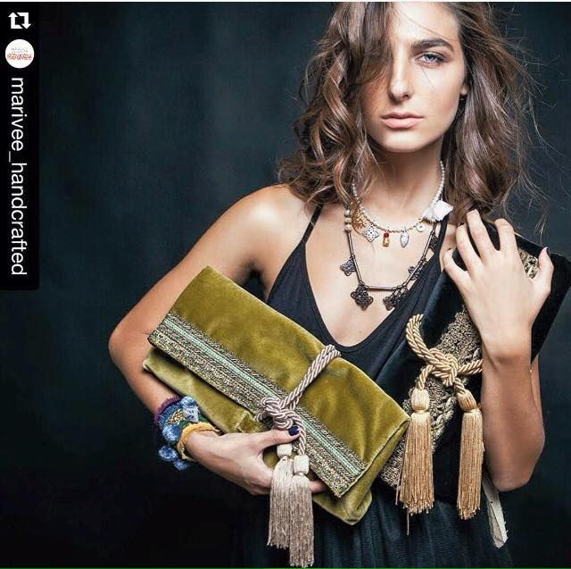 #Repost @marivee_handcrafted with @repostapp. ・・・ Weekend is here beauties!lets do it right and be unforgettable tonight!khaki or classic black velvet clutch for you??? #marivee #marivee_handcrafted #bags #jewelry #velvet #unique #bohemianchic #fresh #designerbrands #greekdesigners #onlylove #colours #fashion #sider #sidervaluablesteps ##vassilikiroussou#availablenow #in#siderstores
