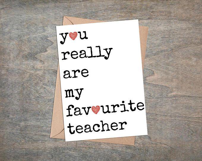 Favourite Teacher Card, Thanks teacher card, Teacher card, End of term card, Thank You Card,  Card For School Teacher
