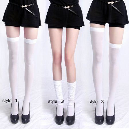HDE Women's Opaque Solid and Striped Thigh High Stockings Socks $8 (4 COLORS AVAILABLE)