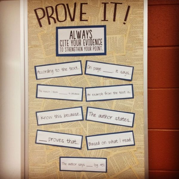"Prove it! Cite evidence to strengthen your point. High school English bulletin board. Don't like the phrasing of ""On page ___, it says..."" because ""it"" is missing an antecedent, but still a variety of good ideas. by sandra1969"