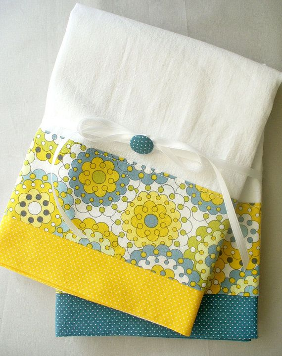Kitchen towels with gray, yellow and slate blue abstract pattern cotton fabric accent - set of two flour sack towels
