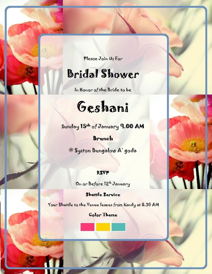 Invitation card of Geshanis Bridal shower