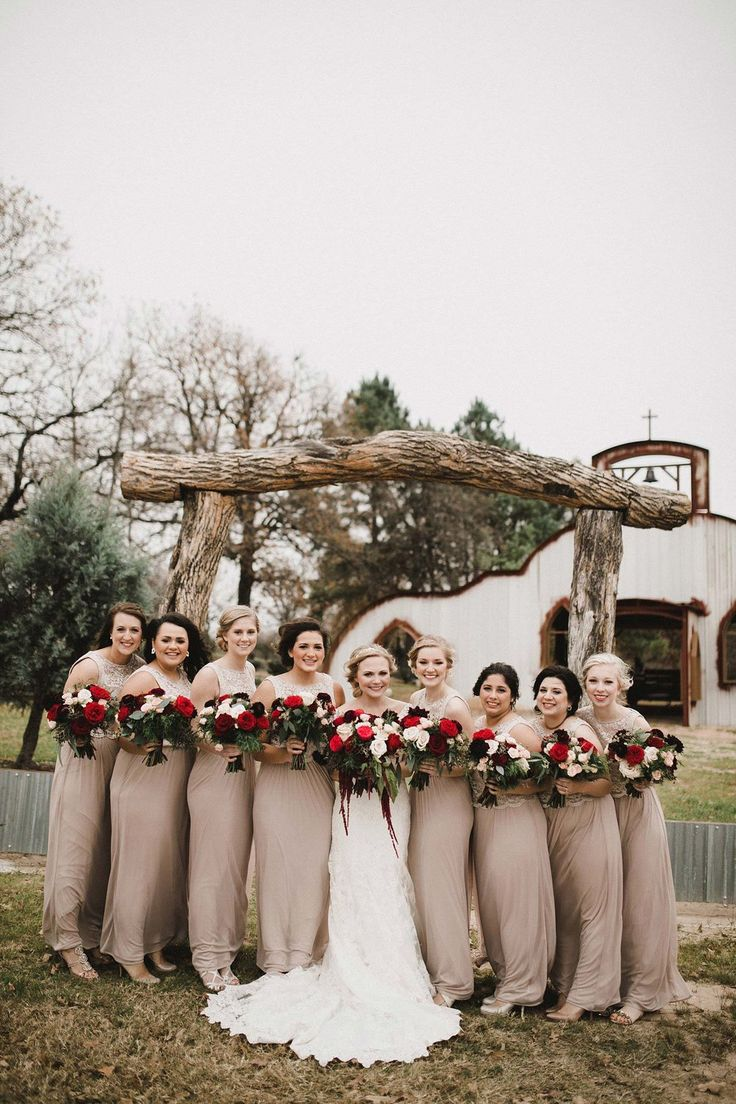 16 best bridesmaid dresses images on pinterest wedding planners what is not to love about these taupe bridesmaids dresses matched with red marsala ombrellifo Image collections