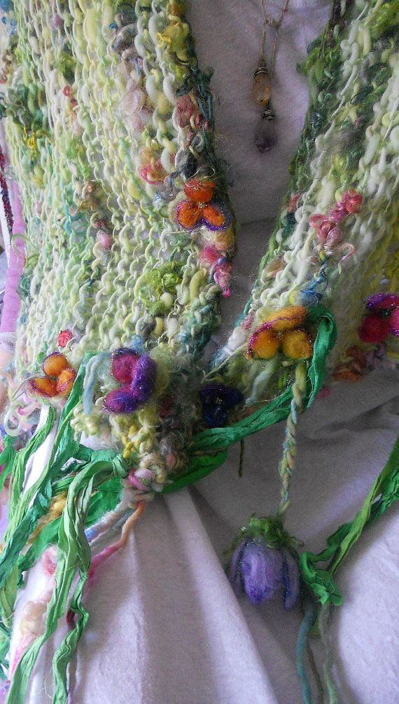 handknit artyarn wrap shawl scarf from the enchanted forest -  ninny's magical rainbow garden