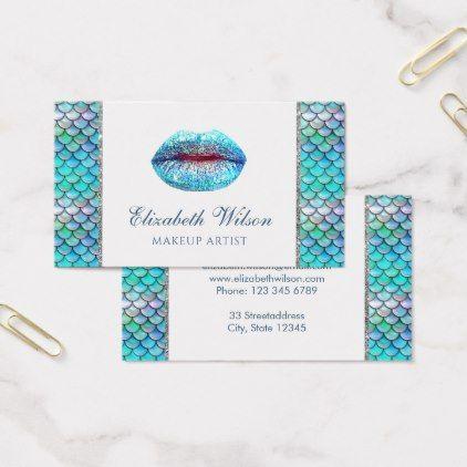sea mermaid glam makeup artist business card - makeup artist gifts style stylish unique custom stylist