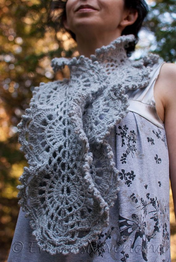 Victorian Lace OOAK elegant gray crochet