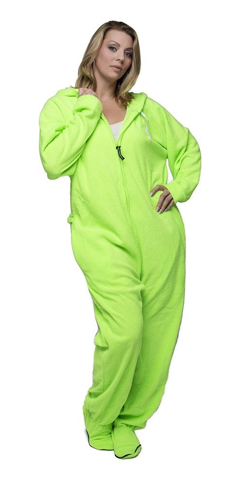 This one would totally be for me.  Neon Green Footed One Piece Sleepwear Footie Mens PJs, Womens Adult Onesies