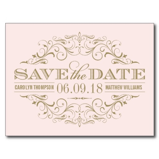 Paper pink and gold save the date and blush pink for Free vintage save the date templates