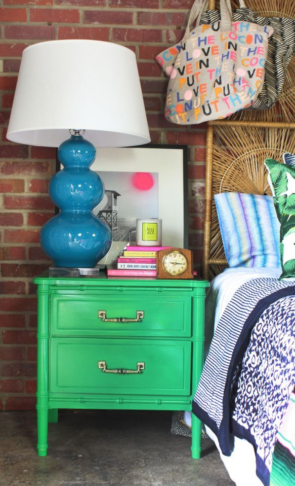 How to Style a Nightstand by Jamie Meares // green lacquer refurbished // via The Everygirl