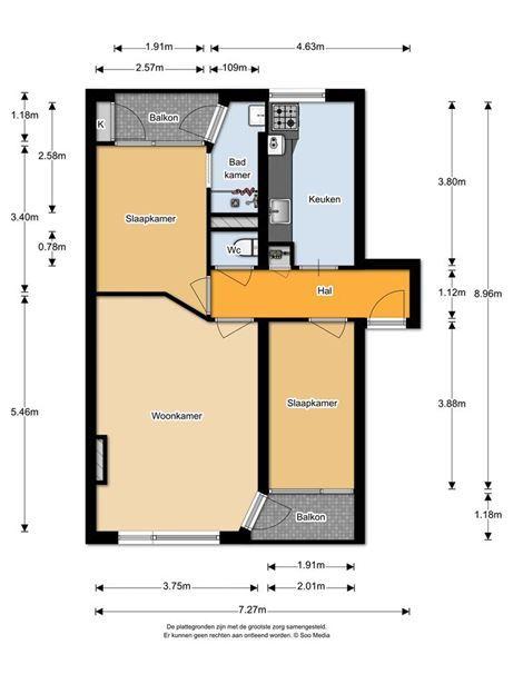 Drie kamer appartement met CV (3 jaar oud) op de bovenste verdieping van dit nette complex met twee woningen per woonlaag in dit portiek. Keurig appartement met twee balkons en door de hoge ligging heb je een fraai uitzicht over de wijk. In de onder...