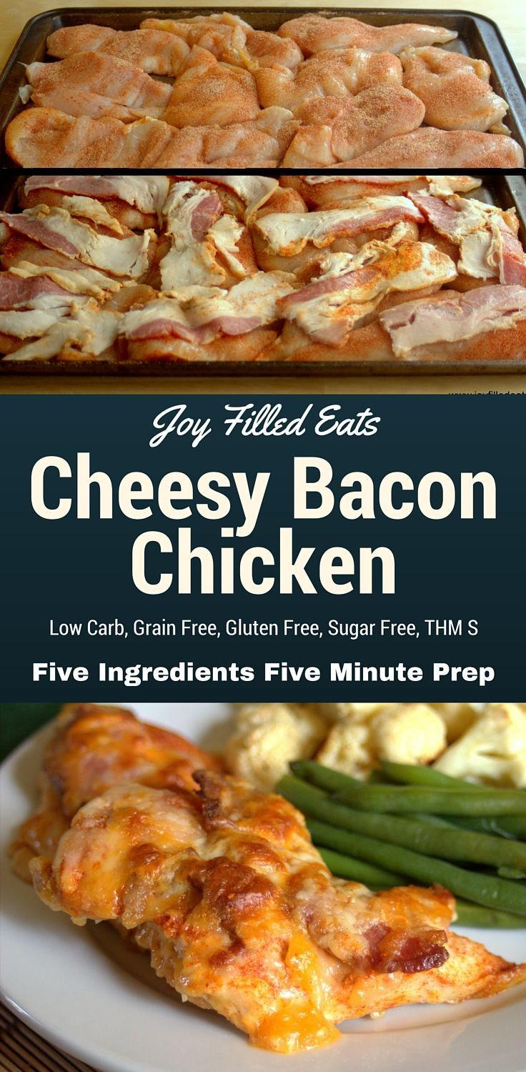 Cheesy Bacon Chicken - Five Ingredients & Five Minute Prep Time - This is your new weeknight dinner. Low Carb, Grain Free, Gluten Free, Sugar Free, THM S. via @joyfilledeats
