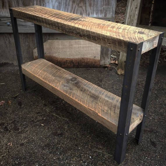 Reclaimed New England barnwood end table measures 36l x 8w x 24h. Angle Iron steel legs.