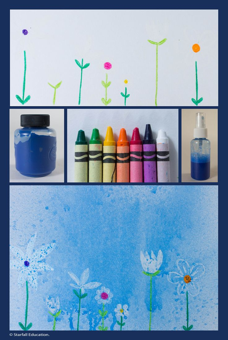 April showers bring May flowers! Draw flowers with white crayon, then spray watered down blue paint to make flowers appear.