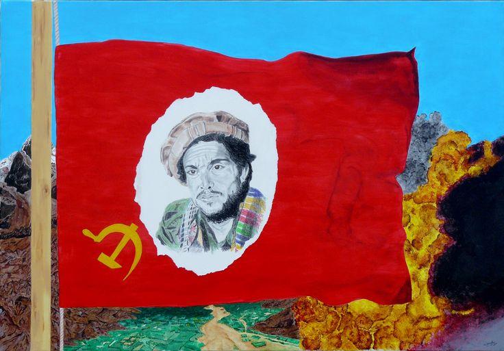 acrylique sur toile + technique divers 116x80 cm  Le tigre de la vallée du Panjshir. Olivier Defay