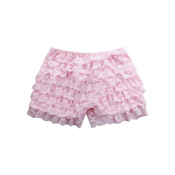 Layers Lace Pink Shorts ❤ liked on Polyvore featuring shorts, bottoms…