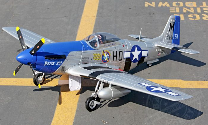 Petie Giant P51 D Mustang V7 Rc Warbird Airplane Radio
