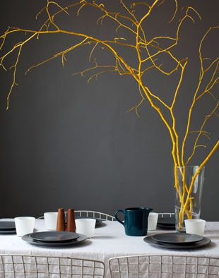 painted yellow branches: Idea, Painted Branches, Branch Centerpiece, Color, Wedding, Yellow Branch, Centerpieces