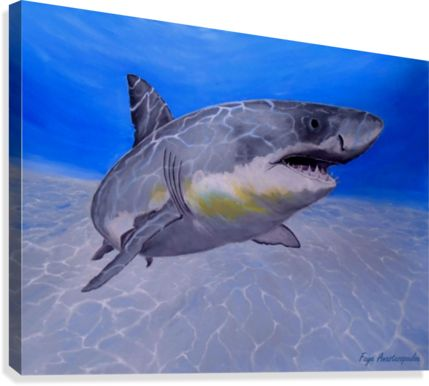 Painting,  shark,aquatic,life,underwater,world,scene,seabed,ocean,floor,sea,sandy,bottom,wildlife,fish,aqua,blue,turquoise,nature,sea,great white shark,tropical,deep,saltwater,light,illumination,patterns,home,office,decor,beautiful,awesome,artwork,wall,art,modern,aqua,blue,turquoise,beautiful,images,fine,art,oil,contemporary,realism,items,ideas,for sale,pictorem,pinterest