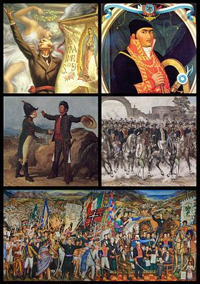Mexican War of Independence Part of the Spanish American wars of independence Collage Independencia.jpg Clockwise from top left: Miguel Hidalgo, José María Morelos, Embrace of Acatempan between Iturbide and Guerrero, Trigarante Army in Mexico City, Mural of independence by O'Gorman
