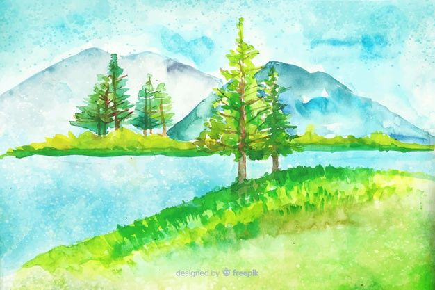 Download Watercolor Natural Background With Landscape For Free Natural Background Vector Photo Nature