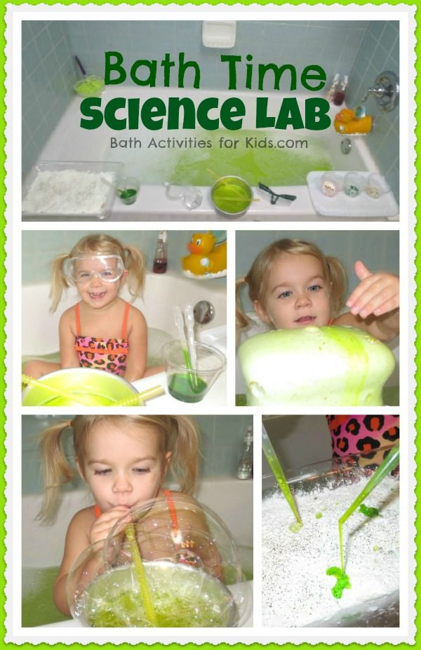 5 Science Experiments During Bathtime from Bath Activities for Kids. Who doesn't love playing with bubbles?!