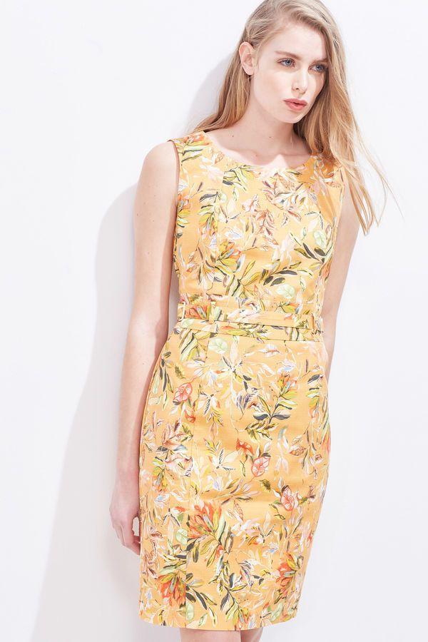 Cortefiel Vestido estampado Amarillo