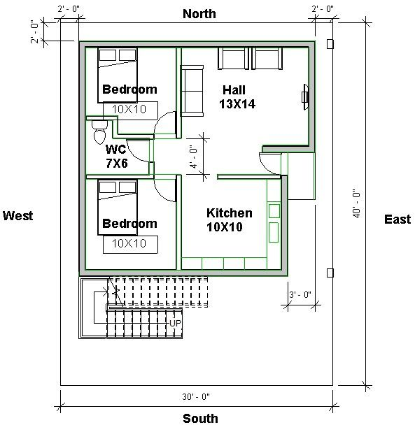 East Facing Vastu Home Plan 2bhk House Plan 20x40 House Plans Family House Plans