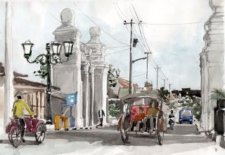 Not actually sketching but painting with watercolour Tehnik Cat Air (Bagian Pertama, Pengenalan) | IS Jogja