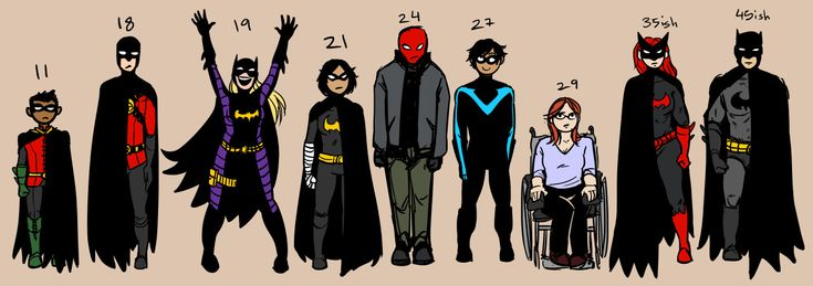 "rachelpoulson: "" The Gotham crew (plus Cass) height lineup by approximate age. I get so sick of Russian Nesting Doll Syndrome, where they make everyone smaller than Batman, descending by age. There's..."