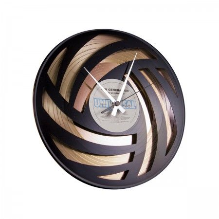 Lacrom Store || Disc' o' Clock, design, clock  Round wooden wall clock with decorations made from long plays.