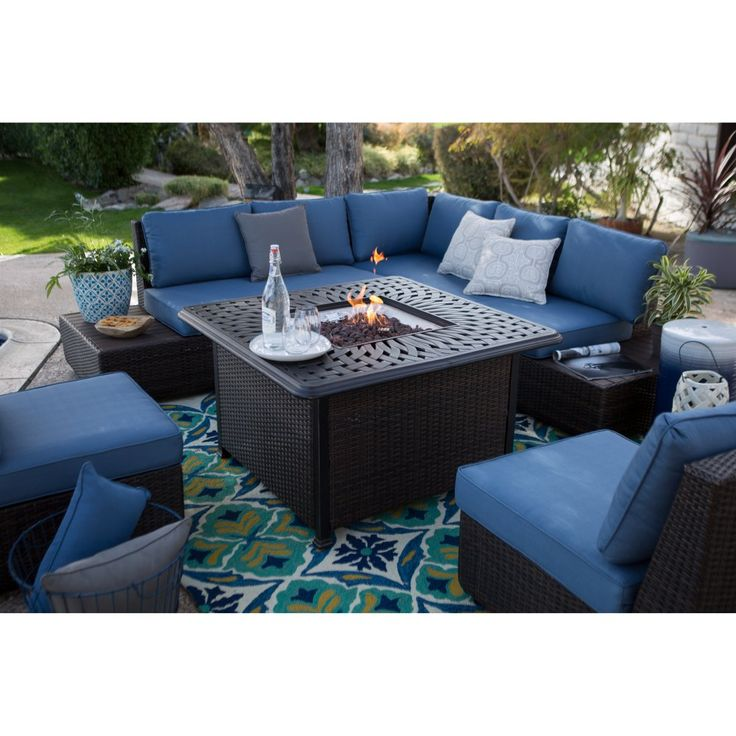 Belham Living Luciana Bay Wicker Sofa Sectional Set with Florentine Fire Pit - Fire Pit Patio Sets at Hayneedle