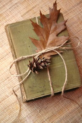 Simple book, leaf, pine cone for decoration | Kate Tilton, Connecting Authors & Readers